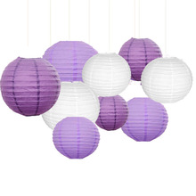 Pack of 9 Paper Lanterns White Purple 12″10″ 8″Round lanterns for Birthday Wedding Baby Showers Party Decorations