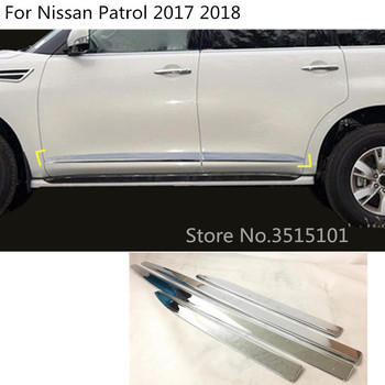 Car Cover Detector ABS Chrome Side Door Body Trim Stick Strip Molding Hoods Part 4pcs For Nissan Patrol 2017 2018 2019 2020