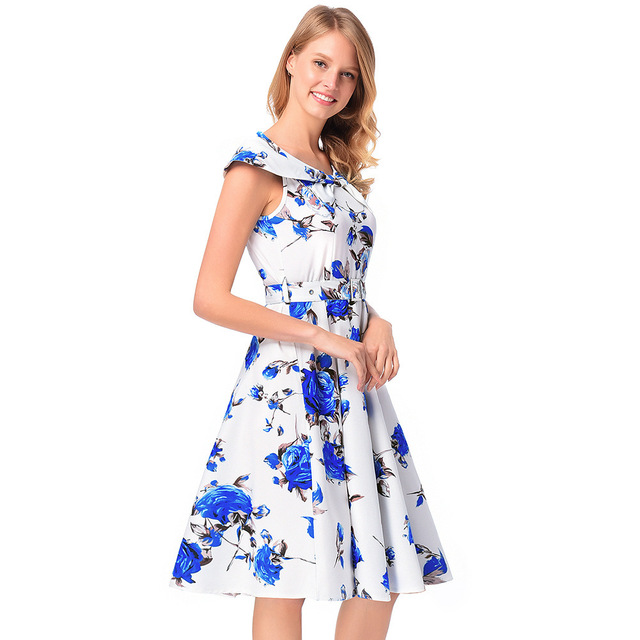 79e6bb127c Fashion Casual Flower Print Dress Ladies Summer Elegant Vestidos De Fiesta  2018 Women Tropical Belt Party Sexy Dress Robe Femme