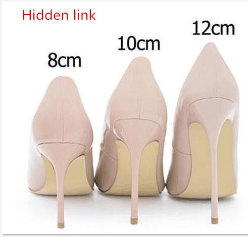2018 Hidden link Brand Sexy Pointed Toe Patent Leather high Heels Pumps Shoes Women Heels Party Wedding Shoes Big Size with box new women patent leather high heels shoes wine red gray sexy pointed toe shoe for wedding party office career pumps smybk 020