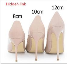 2018 Hidden link Brand Sexy Pointed Toe Patent Leather high Heels Pumps Shoes Women Heels Party Wedding Shoes Big Size with box