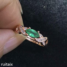 KJJEAXCMY fine jewelry 925 Pure silver inlay natural emerald-green female ring gemstone simple inlay diamond rose gold