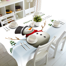 Senisaihon 3D Table cloth Cute Christmas Snowman Pattern Waterproof cloth Thicken Rectangular Children Tablecloth Home Textiles