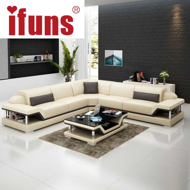 IFUNS l shape corner white cow leather chesterfield sofa modern ...