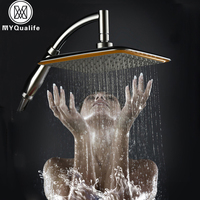 Bathroom Square 8 inch Rainfall Shower Head Over-head 360 degree Rotate Plastic Showerhead Sprayer ABS Shower Arm