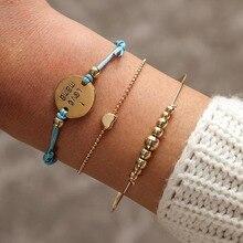 цены на 3 Pcs/Set Gold Beads Love Heart Charm Bracelet Bangles for Women 'I love mama' Letter Engraved Medal Charm Bracelet Jewelry 2019 в интернет-магазинах