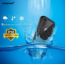 Egeedigi IP68 Waterproof Anti-knock Outdoor sport Phone Cases For iPhone X XR Xs Max Coque Take videos underwater Case