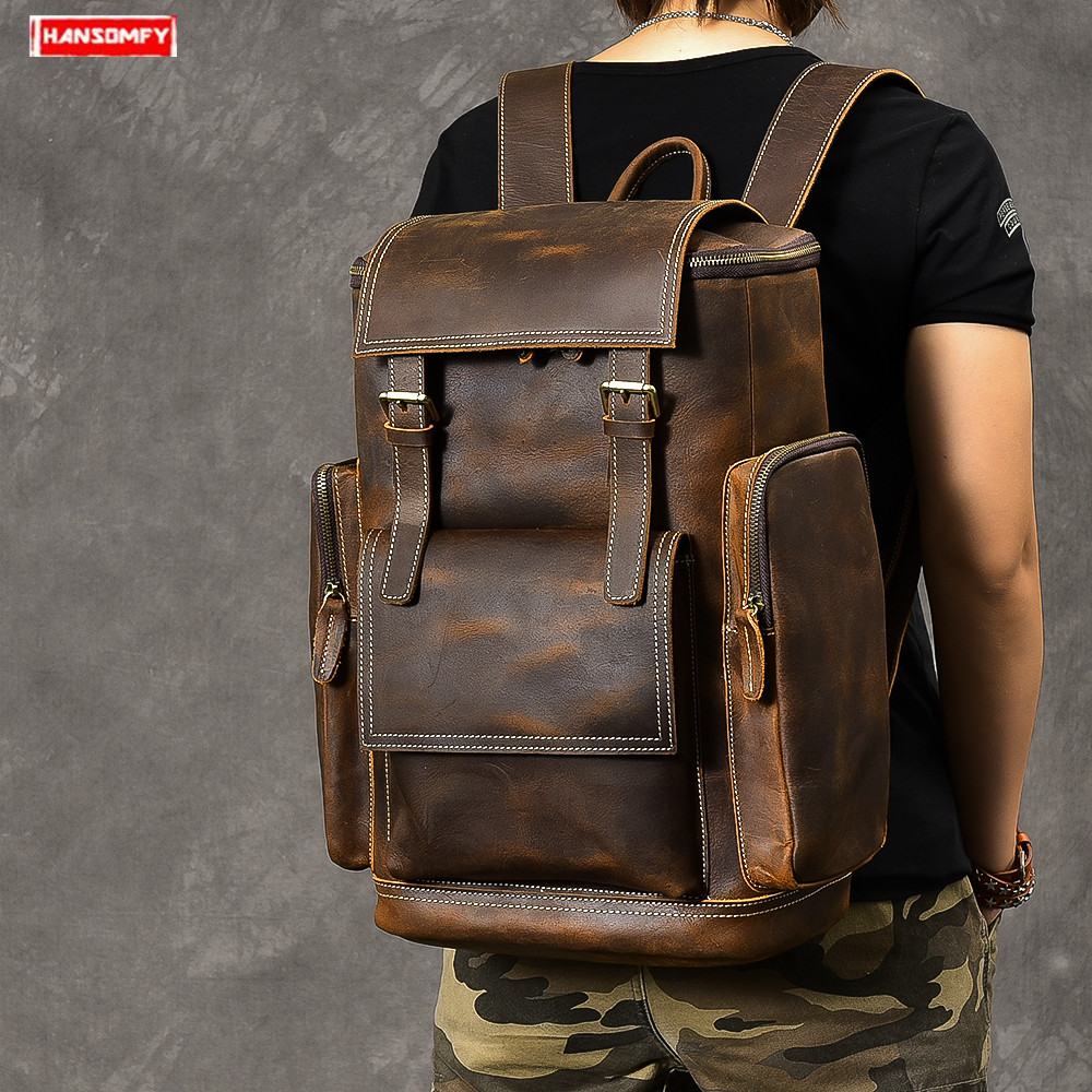 Crazy Horse Leather Men s Backpack Large Capacity first Layer Leather male shoulder bags Vintage 17