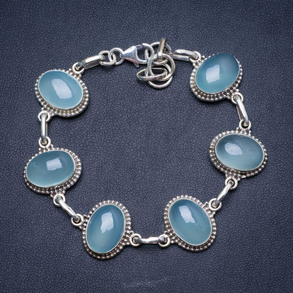 Natural Chalcedony Handmade Unique 925 Sterling Silver Bracelet 7 1/2-8 1/2 Y1375Natural Chalcedony Handmade Unique 925 Sterling Silver Bracelet 7 1/2-8 1/2 Y1375
