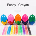Creative 6 Colors/set Crayon Colorful Wax Crayons Cartoon Egg Shape Graffiti Pen Painting Gift for Kids Drawing