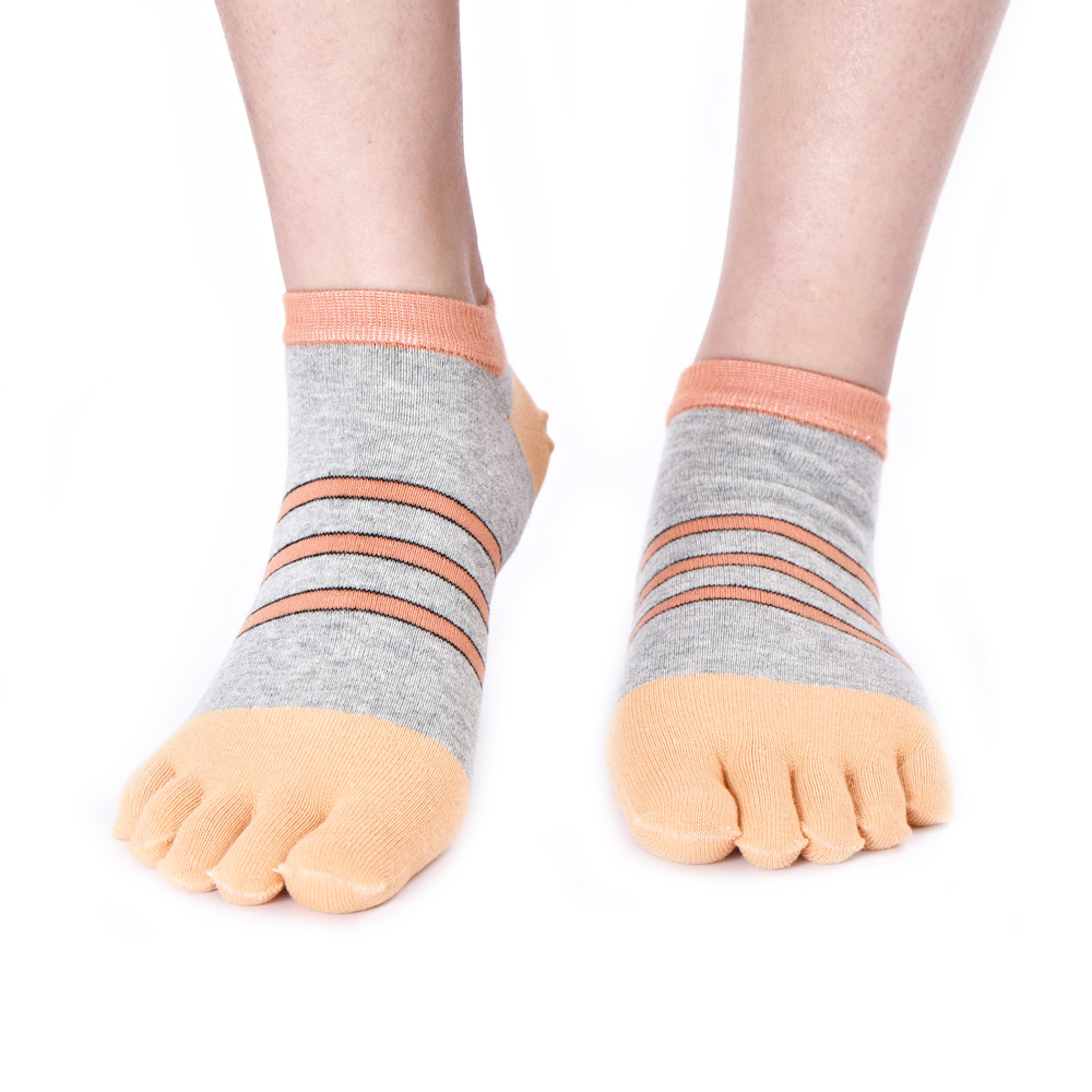 Fashion Casual Men Toe Socks Business Colorful Stripes Breathable Sox Cotton Soft Five Finger Toes Dress Ankle Socks