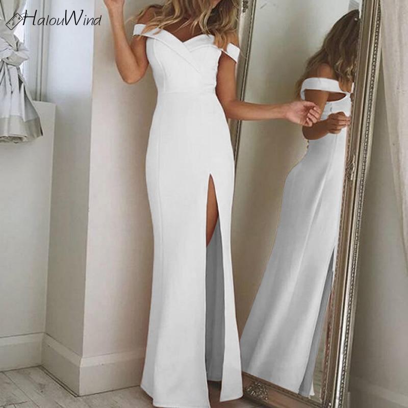 Best buy ) }}Vintage Off Shoulder Evening Wedding Party Maxi Dress Sexy V Neck Split