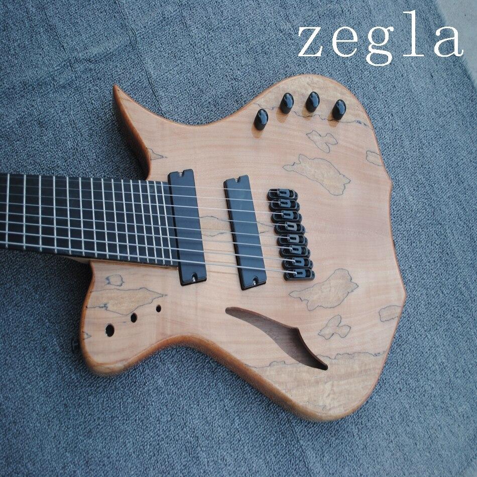Guitare électrique classique à 8 cordes, placage de grain de carte, couleur naturelle en bois, diagonale, accessoires noirs livraison gratuite, - 3