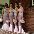 Custom Made Vestidos de Festa de Casamento 2016 de Alta Qualidade Applique Corpete Sereia Vestidos de Dama de honra Rosa Pink com Caixilhos (BD-124)