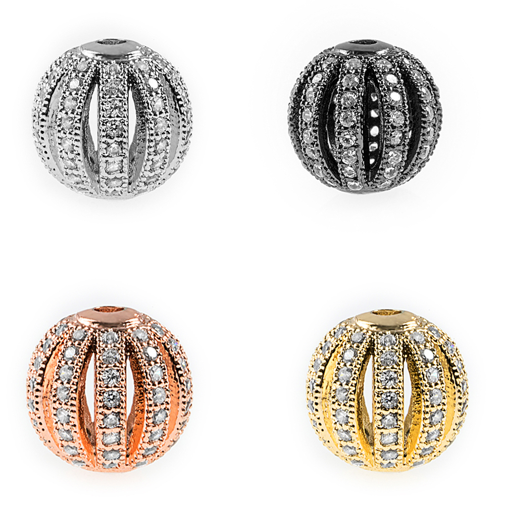 Micro Pave CZ Handshake Beads Pearl Metal Charms For Jewelry Noodles Beaded DIY Make Wholesale