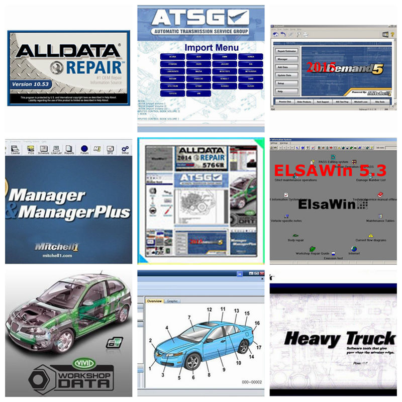 2018 Best Quality Alldata Auto Repair Software All data 10.53 + Mitchell on demand5 2015V + Atsg manual data + Vivid 1tb hdd alldata and mitchell software alldata auto repair software mitchell ondemand 2015 vivid workshop data atsg elsawin 49in 1tb hdd
