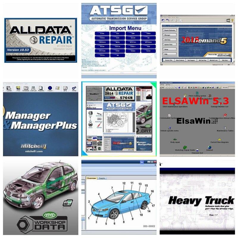 2020 melhor Qualidade Alldata Software de Reparação Automóvel Todos Os dados de 10.53 + Mit chell // OD5 2015V + Atsg manual dados + Vivid 1tb hdd