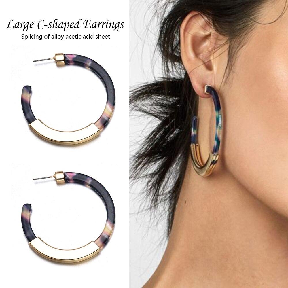 2019 Women Fashion Summer Drop Earrings Bohemia Acrylic Acetate Leopard Circle Earrings for Women