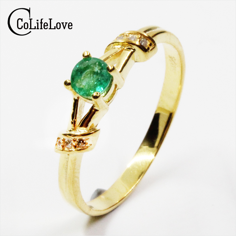 CoLife Jewelry 2017 new design silver emerald ring 4mm round brilliant cut natural emerald solid 925