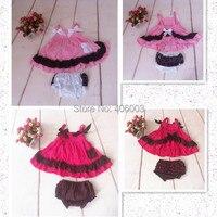 Bebê Meninas Babados Bloomers Fralda Tampa Superior Vestido + Calça Definir Rosa E Fushia Meninas Infantis Roupas 0-3Y Frete Grátis