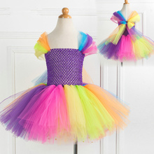 Flower Girl Unicorn Puffy Dress Rainbow Princess Birthday Party Child Halloween Costume