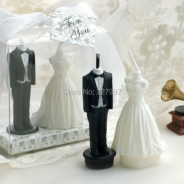 Wsc6001 7 Creative Flameless Carved Candles For Wedding Groom And Bride Dress Candle Souvenirs Small