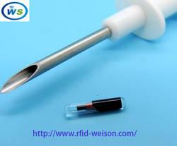 (50 шт./лот животных шприц) 2*12 мм 134,2 кГц Stanard ISO чип EM4305 для домашних животных дизайн