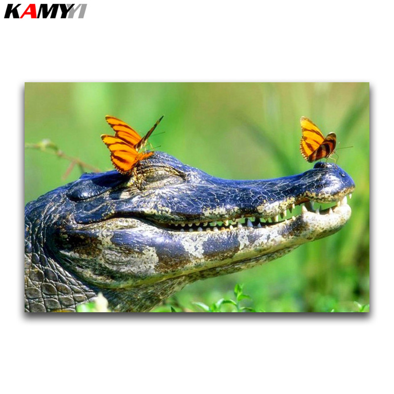 Needle Arts & Crafts Full Square Diamond Painting Crocodile Diy 3d Diamond Mosaic Butterfly Full Round Diamond Embroidery Cross Stitch Animal Meticulous Dyeing Processes