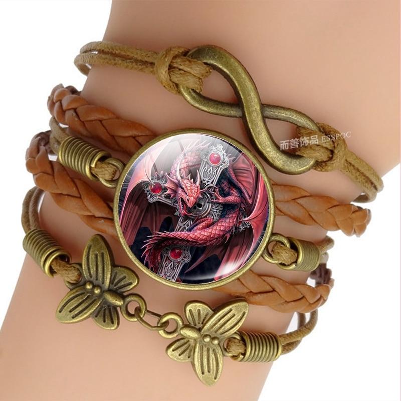 Evil Dragon Braided Leather Bracelet Men Women Infinity Charm Bracelet Dragon Jewelry