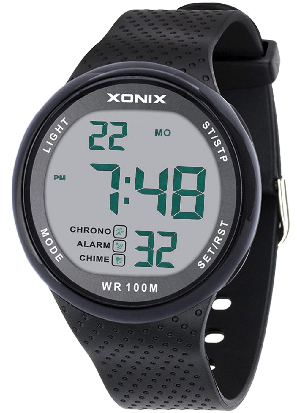 Ergonomic And Minimalist Vogue Men's 100M Waterproof Sports Black Large Digits Digital Dive Watch (Can Be Pressed Underwater)