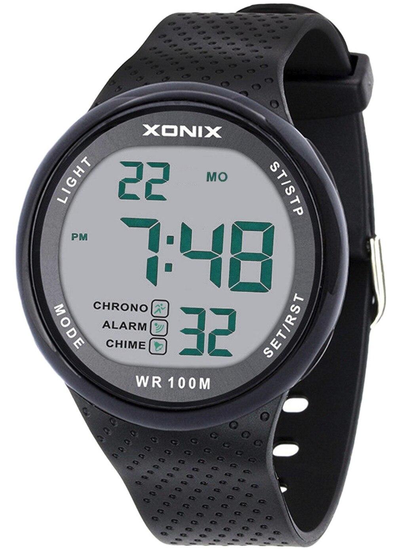 Ergonômico e Minimalista Relógio de Mergulho Vogue Masculino Impermeável Esportes Preto Grande Dígitos Digital Pode Ser Pressionado Debaixo Dunderwater Água 100 m