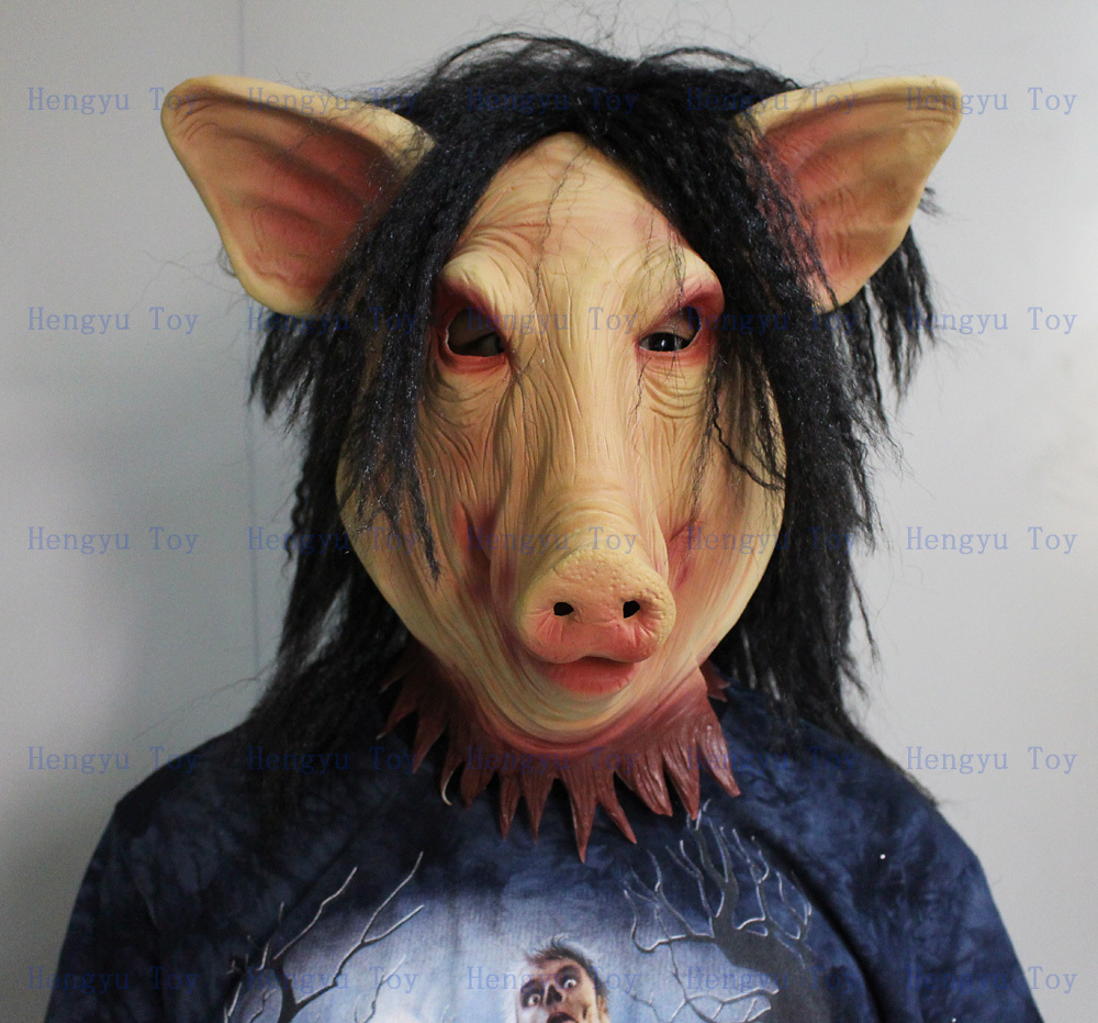 buy halloween saw pig mask scary halloween props latex full head mask with hair from reliable pig mask suppliers on huizhou hengyu toy co