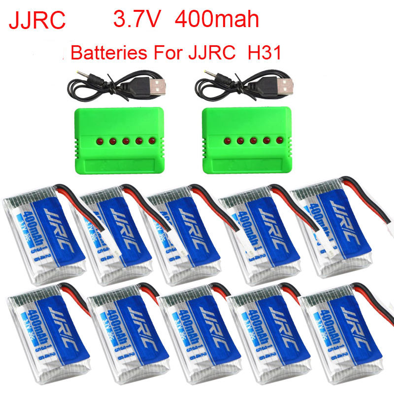 JJRC H31  H56 T2G Battery Spare Parts 3.7V 400 MAh 30C Li-Battery  Z51 Airplane Battery With 5in1 Charger Cable