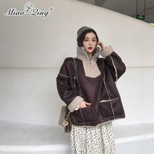 MIAOQING Suede Patchwork Lambswool Biker Jackets Women Winter Pullover Coats Fur Parkas Warm Ladies Coat Oversized Clothes black