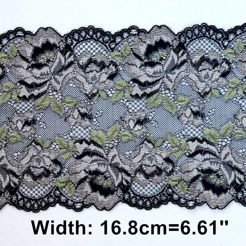 2 metre 16.8 cm Genişlik Işlemeli elastik şerit süs DIY Giyim Aksesuarları Dikiş Malzemeleri Jartiyer Streç Dantel Kumaş Siyah