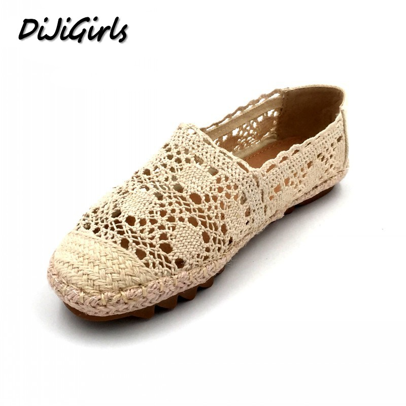 DiJiGirls New Women Casual Flat Shoes Fashion Slip On Round Toe Loafers Lace Cut Outs Straw Hemp Rope Canvas Shoes Size 35-40 2017 shoes women med heels tassel slip on women pumps solid round toe high quality loafers preppy style lady casual shoes 17