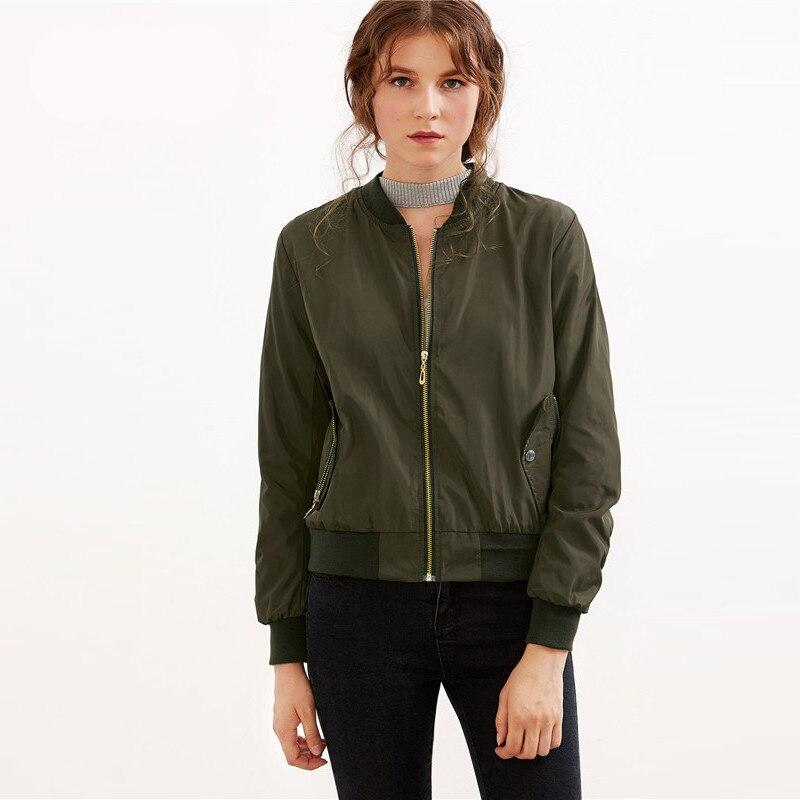 Army Green Shirred Sleeve Zipper Bomber Jacket