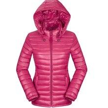 2017 women winter autumn basic jacket  black red solid slim thin hooded coat ultra light cotton plus size 3XL jaqueta feminina