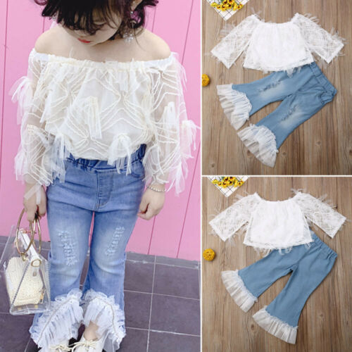 Toddler Kid Baby Girl Summer Lace T Shirt Tops Destroyed Jeans Pants Outfits Set in Clothing Sets from Mother Kids