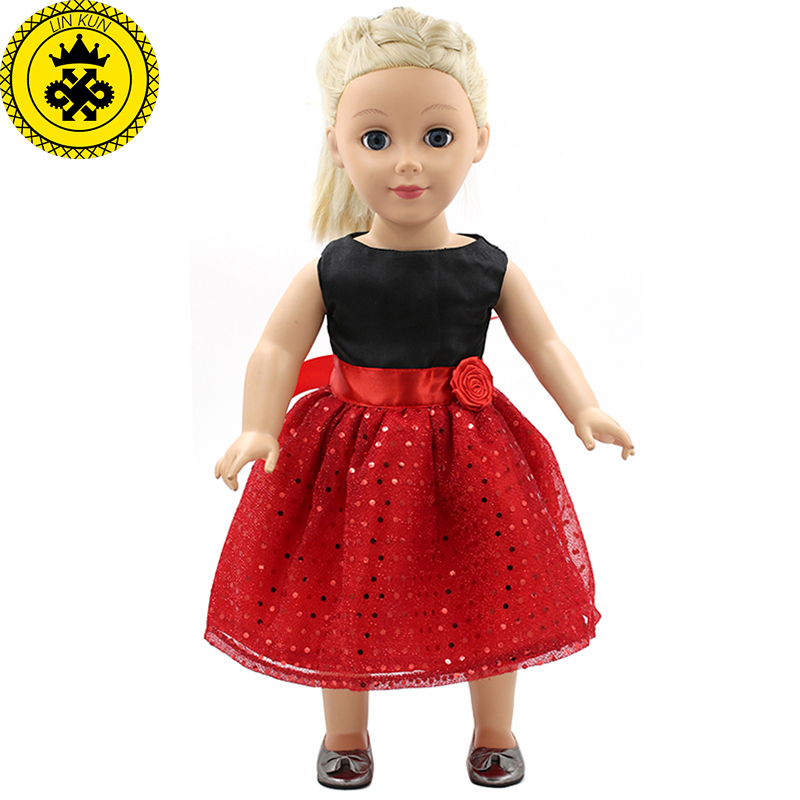 American Girl Dolls Clothing Black Shirt Red Sequined Dress Doll Clothes of 18 inch Doll Dress Girls Best Gift MG-122 handmad 18 inch american girl doll clothes princess anna dress fits 18 american girl doll mg 032