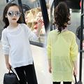 Spring Girls Knitting Line Korean Blank Hair Clothes Fashion Kids Clothing Sweaters White Pink Yellow