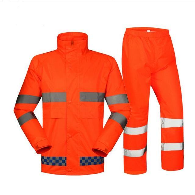 High visibility workwear fluorescent orange rainwear rain suit rain jacket  and pant reflective safety jacket free shipping 7d6cd7a6925