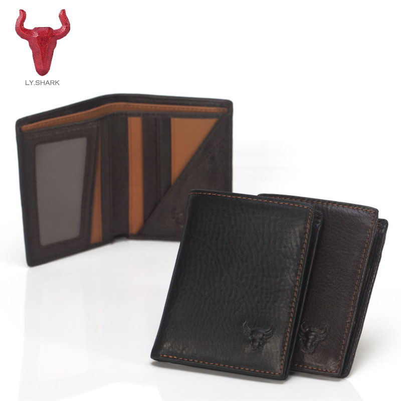 LY.SHARK Genuine leather wallet men purse Short clutch Card Holder Bifold Men Wallet Zipper Coin Pocket Fashion Design Money Bag zelda wallet bifold link faux leather dft 1857