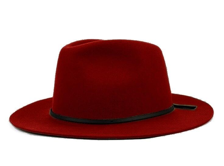 Модная шерсть Летняя женская мужская крученая натуральная Фетровая Шляпа Fedora Bush Sun Hat Trilby Gorra Toca Sombrero с кожаным ремешком - Цвет: Red