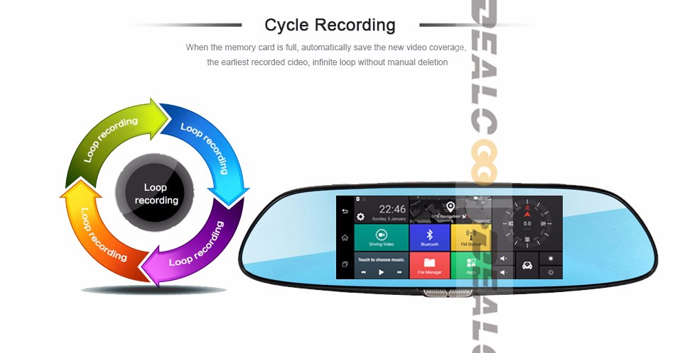 3G-car-DVR-mirror-camera-dual-lens_12-Cycle recording