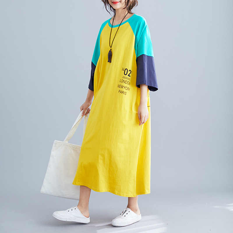 Johnature 2019 Summer Fashion New Women Long Tshirt Dress Leisure Loose Simple O-neck Short Sleeve Letter Print Korean Dresses