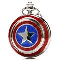 Ícone capitão América Cadeia Quartzo Relógio de Bolso Colar de Pingente de Estrela Para As Mulheres Homens Crianças Chirstmas Presentes Frete Grátis P497