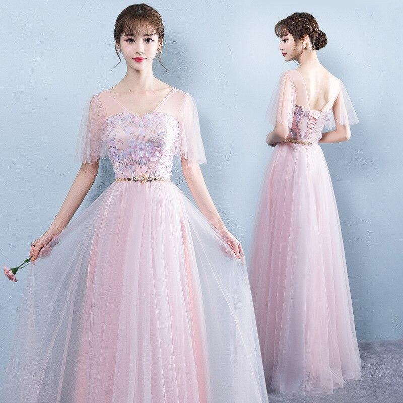 Mingli Tengda Pink   Bridesmaid     Dress   Long Fairy Wedding Party   Dress   Elegant Women   Dress   Lace Long   Bridesmaid     Dresses   Half Sleeve