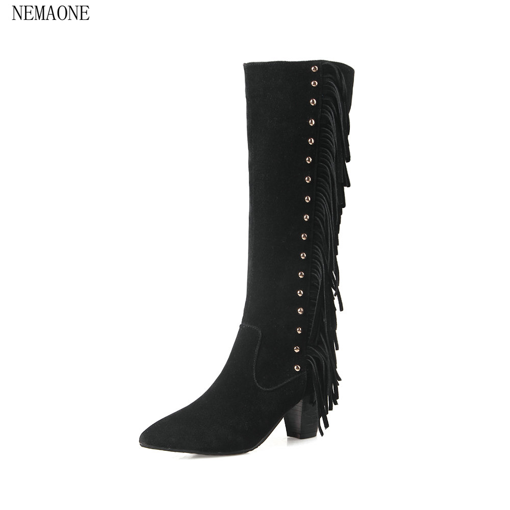 NEMAONE Women Knee Boots Thigh High Boots 2018 Autumn Winter Ladies Fashion Fur Warm Boots autumn Shoes Woman fashion women boots knee high elastic slim autumn winter warm long thigh high knitted boots woman shoes or935432