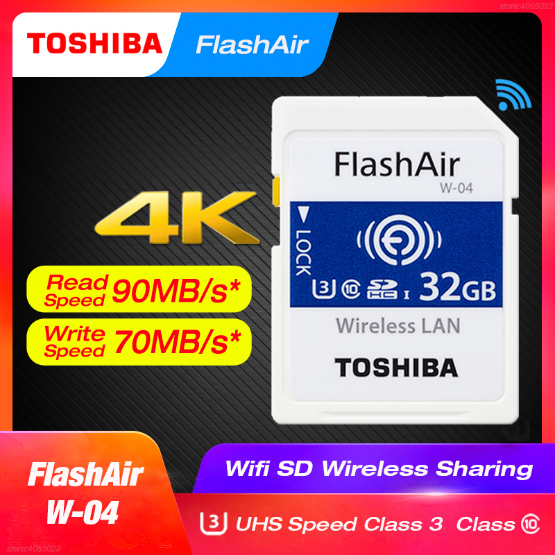 TOSHIBA FlashAir W 04 WiFi SD Card 64GB SDXC 32GB 16GB SDHC Class 10 U3 Memory Card Flash Card For Digital Camera-in Memory Cards from Computer & Office